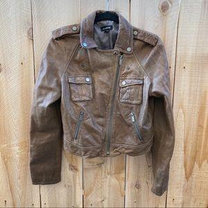Bebe 100% leather biker jacket brown size M
